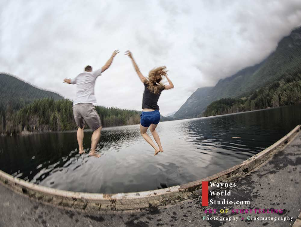 Engagement Couple Jump Lake