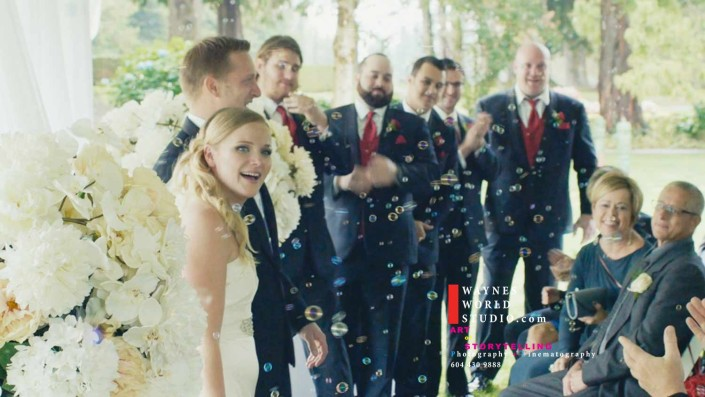 Colorful bubbles during Celebration Vancouver Wedding Shaughnessy Golf