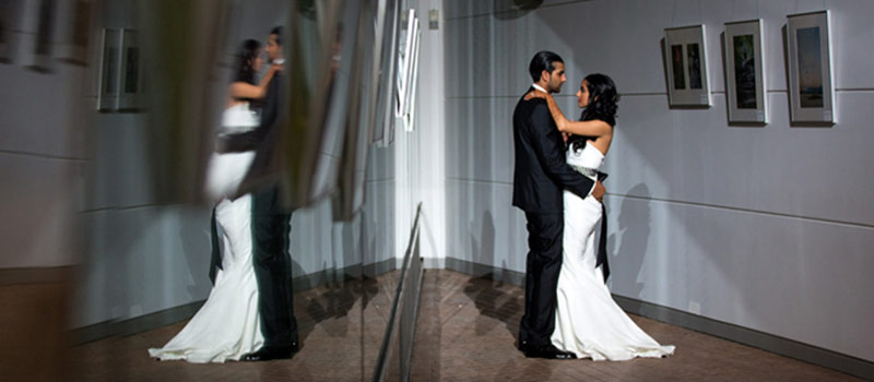 Elegant Wedding at Vancouver Public Library, couple dance by reflection photo by WaynesWorld Studio