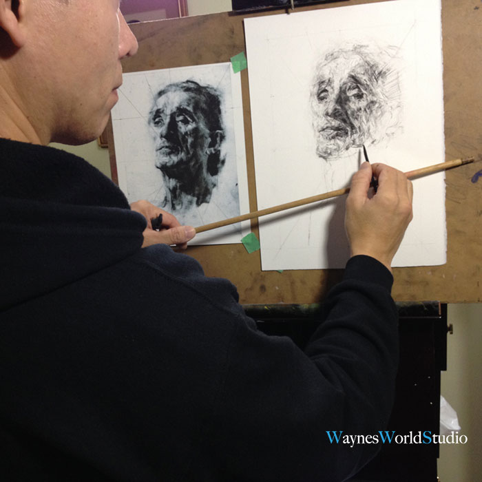 Wayne Lam Vancouver photographer drawing portrait with charcoal