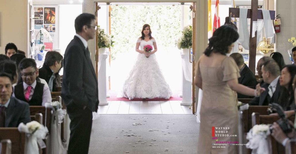 wedding bride first step into church