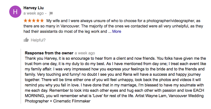 Award wedding photographer testimonials