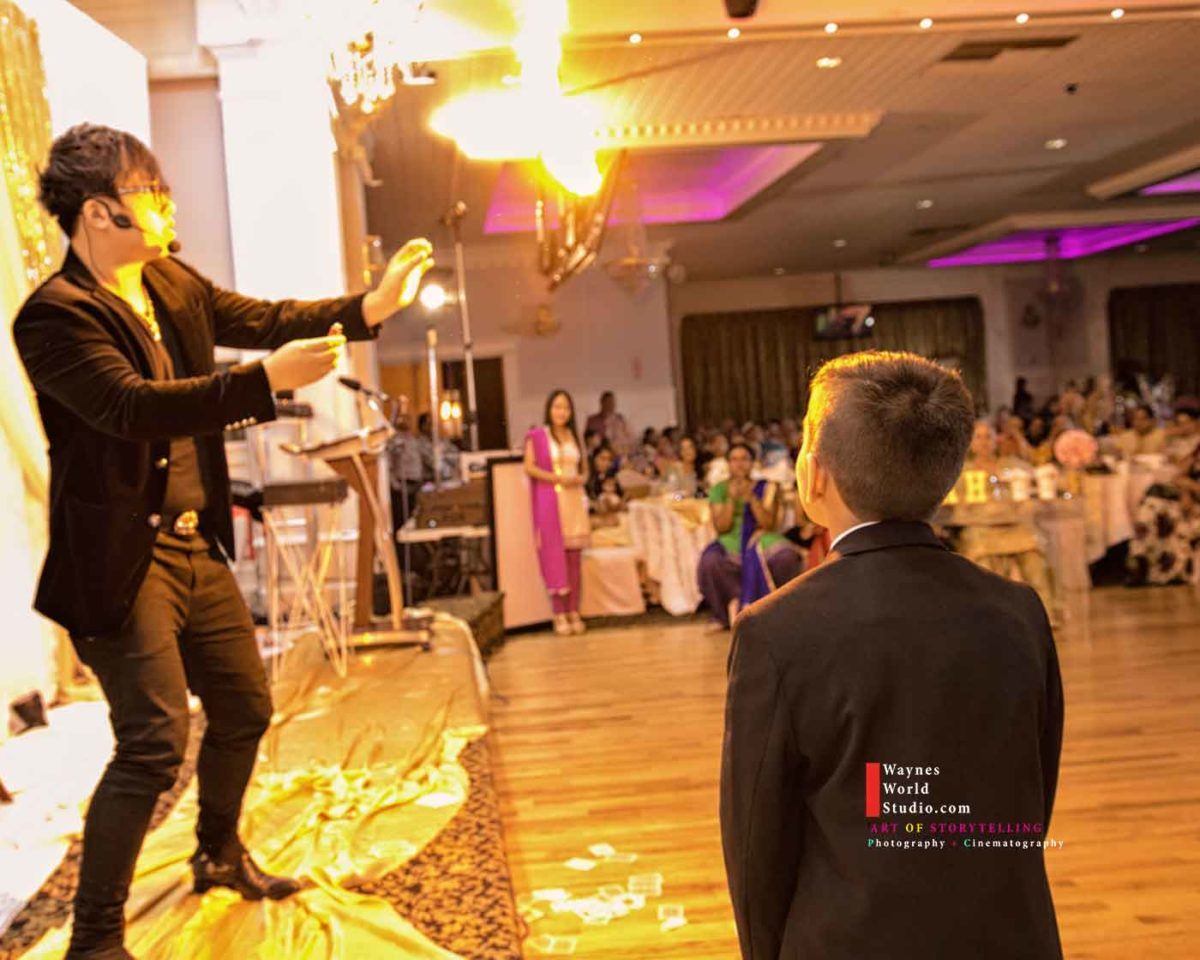 Magician photo and video by Waynes World Studio is Vancouver modern romance Wedding Event photographers videographers.