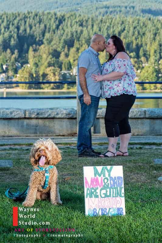 Pet engagement photo Vancouver Couples Vancouver